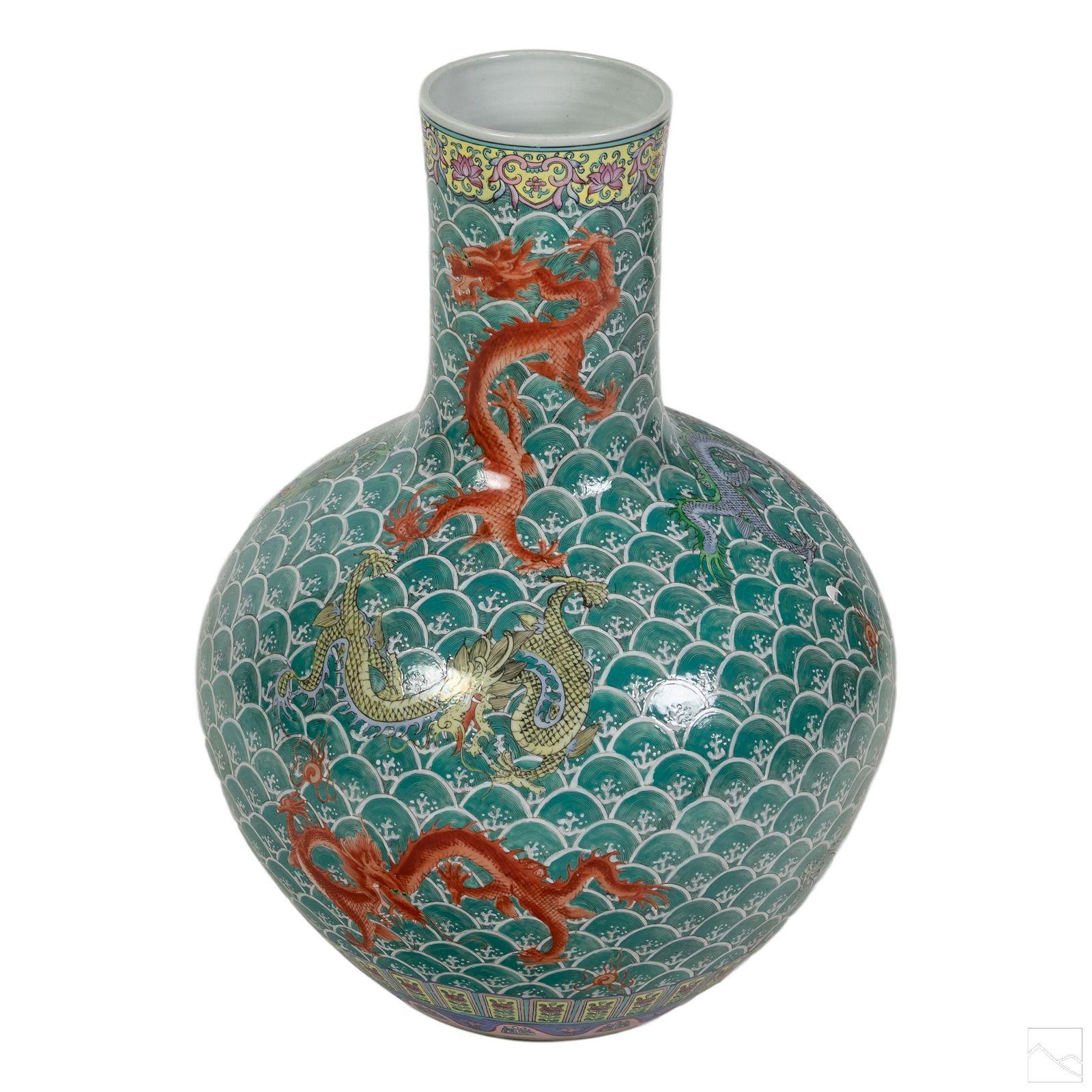 Chinese Signed 5 Toed Porcelain Dragon Floor Vase