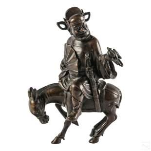 """Chinese 10"""" Vintage Bronze Horse & Rider Sculpture"""
