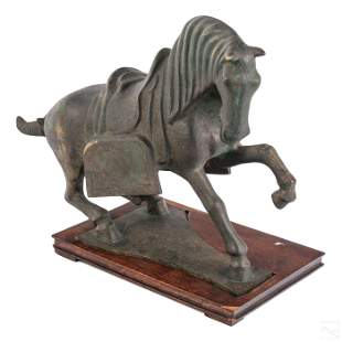 """Chinese 17"""" Bronze Tang Horse Sculpture with Base"""