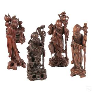 Chinese LOT 4 Hand Carved Wood Scholar Sculpture
