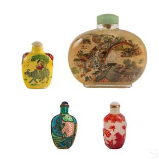 Chinese Export Snuff Bottles 4pc Estate Collection