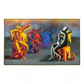 Mark Kostabi (b.1960) Modern Abstract Oil Painting