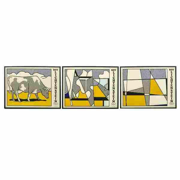 Roy Lichtenstein Cow Going Abstract 1982 Triptych