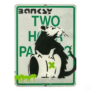 Rat Street Sign Graffiti Pop Art Painting after Banksy