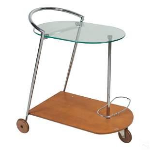 "Modern 30"" Rolling Wood, Chrome and Glass Bar Cart"