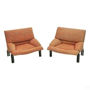Giorgio Saporiti Pair of Modern Lounge Club Chairs