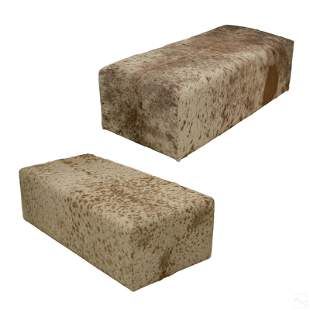 Modern Set of Two Leather Cowhide Bench Ottoman