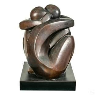 Gila J Stein b.1945 Modern Bronze Lovers Sculpture