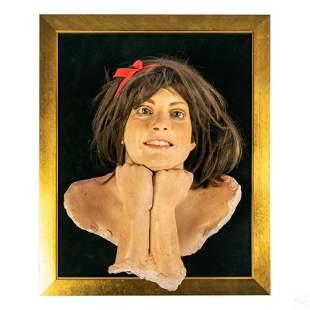 Marc Sijan b.1946 Smiling Girl Portrait Sculpture