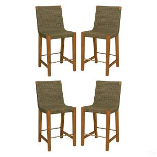 Janus et Cie Woven Rattan Counter Stool Bar Chairs
