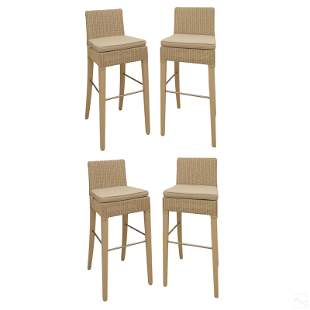 Janus et Cie Set of 4 Rattan Counter Stools Chairs