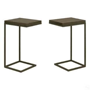 Designer Modernist Pair of Metal Side End Tables