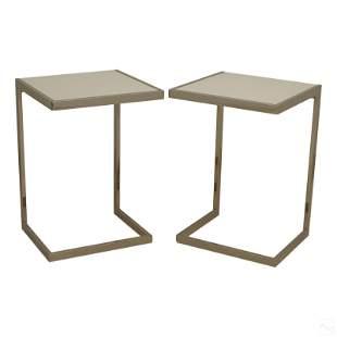 Designer Pair of West Elm Modern Side End Tables