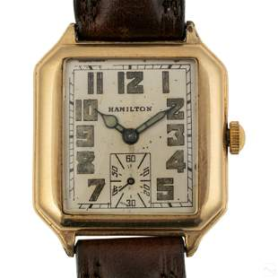 14K Gold Hamilton Octagon Mens Manual Dress Watch