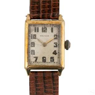 14K Gold Waltham Mens Art Deco Manual Dress Watch