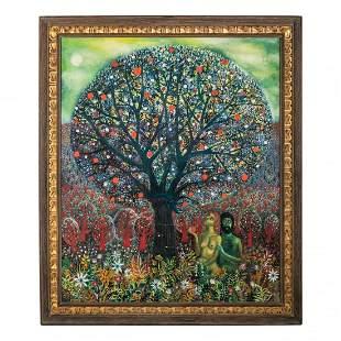 Mystery Latin American Garden of Eden Oil Painting