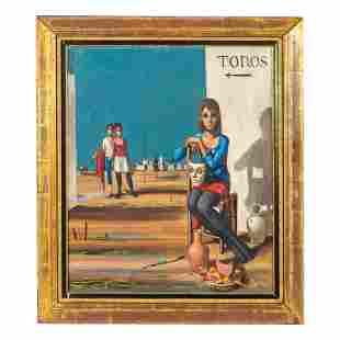 Jean Pierre Serrier 1934-1989 Surreal Oil Painting