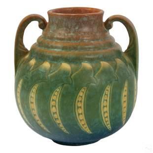 Roseville Pottery Faline Pea Pod Handled Vase #648