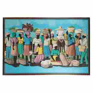 Romane Jereme Haitian Village Folk Art Painting