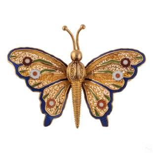 18K Gold Topazio Designer Enamel Butterfly Brooch