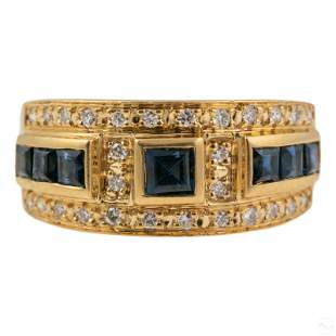 18K Gold Designer Style Diamond Sapphire Ring Sz 6