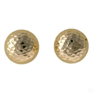 14K Gold Ladies Diamond Etched Dome Stud Earrings