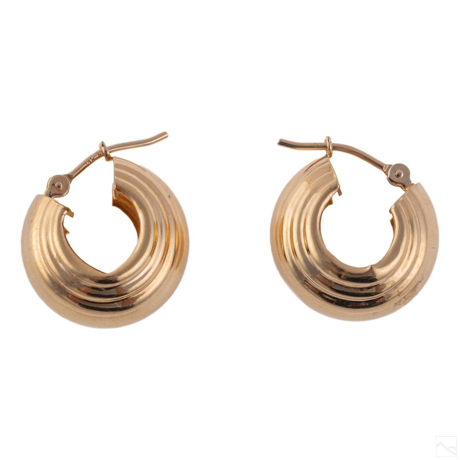14K Yellow Gold Ladies Huggie Hoop Earrings Pair