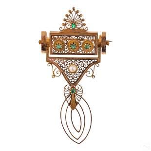 14K Gold Antique Etruscan Emerald & Pearl Brooch