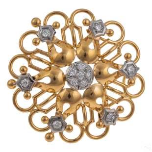14K Gold Ladies Retro Diamond Pendant Brooch Combo