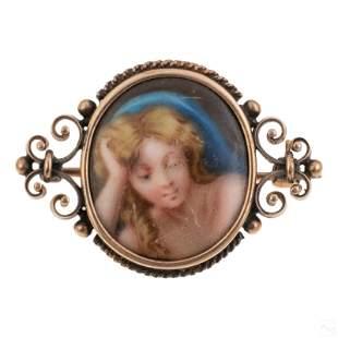 14K Gold Antique Painted Porcelain Portrait Brooch