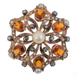 14K Gold European Marked Gemstones Brooch Pendant