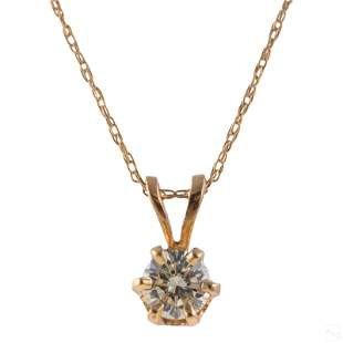 14K Gold Ladies .25 CT Diamond Pendant & Necklace