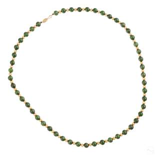 """14K Gold & Spinach Green Jade 26"""" Beaded Necklace"""