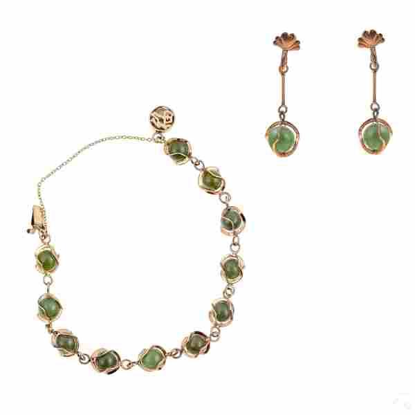 14K Gold Spinach Jade Bead Bracelet & Earring Set