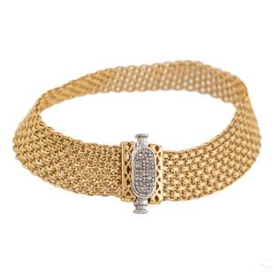 "14K Gold Italian 7"" Natural Diamonds Mesh Bracelet"