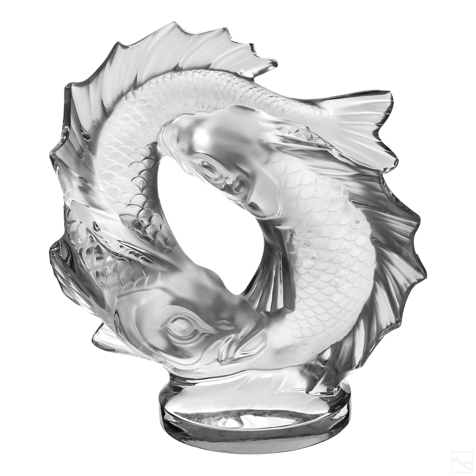 Lalique Frosted Crystal Fishes Figurine Sculpture