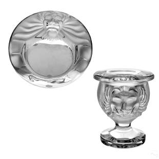 Lalique Crystal Two Piece Lion's Head Smokers Set