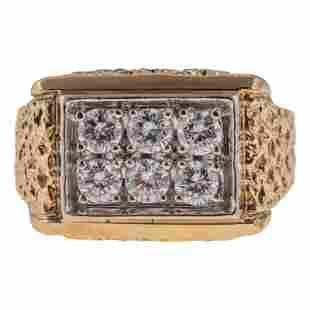 14K Gold Men's Designer Signed 1 CTTW Diamond Ring