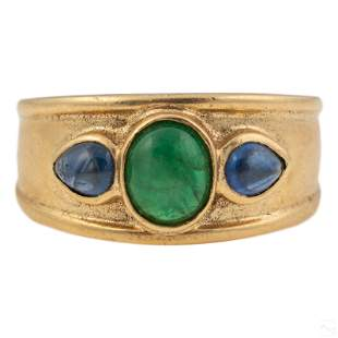 14K Gold Emerald Sapphire Cigar Band Ring Size 7