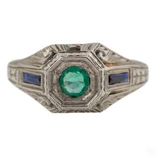 14K White Gold Art Deco Emerald & Sapphire Ring