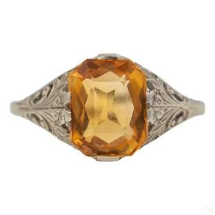 14K White Gold Art Deco Citrine Filigree Ring 6.75