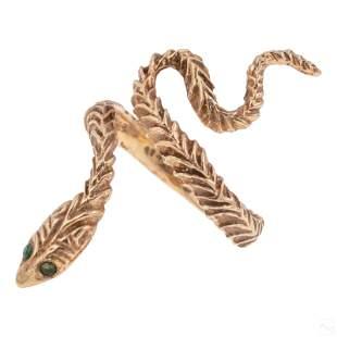 14k Gold Artisan Emerald Eyed Coiled Snake Ring S6