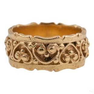 14K Gold Designer Signed Heart Band Beaded Ring S6