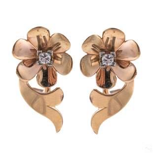 10K Gold Ladies Retro Modern Diamond Earrings Pair