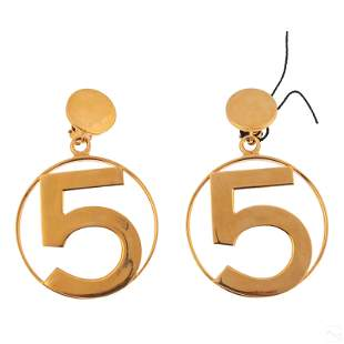 Chanel #5 Designer Gilt Runway Fashion Earrings