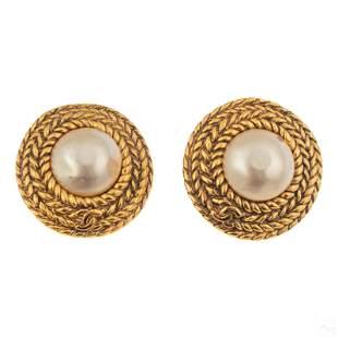 Chanel Designer Gilt CC Mobe Pearl Fashion Earrings