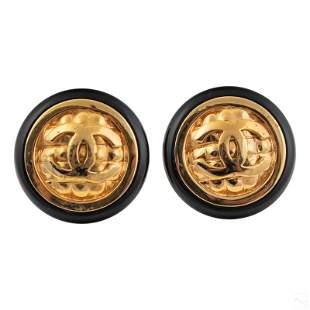 Chanel Designer Gilt CC Enamel Fashion Earrings