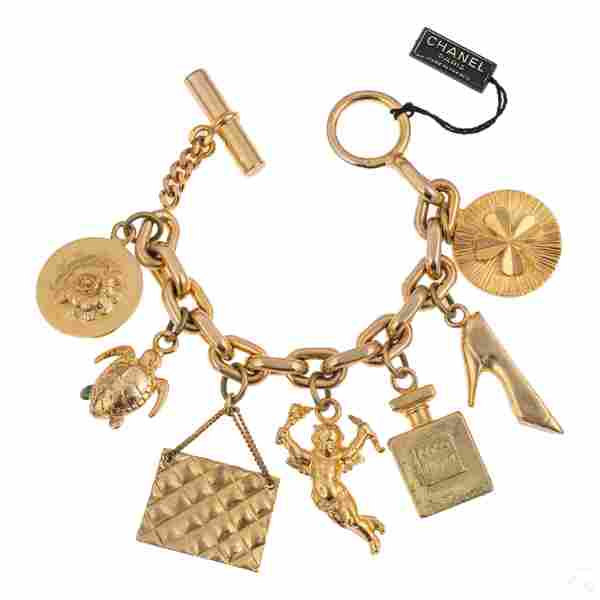 "Chanel Designer Heavy Gilt 7 Charm ""Coco"" Bracelet"