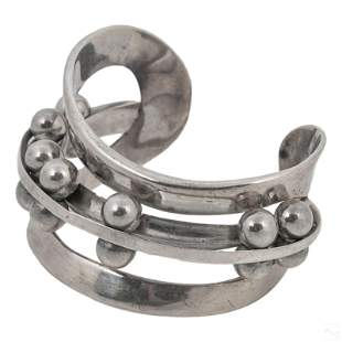 Takashi Wada Kinetic Sterling Silver Cuff Bracelet