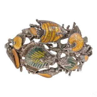 Kabana Sterling Silver Enamel Fish Cuff Bracelet